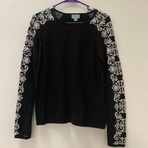 CeCe Black Long Sleeve Sweater